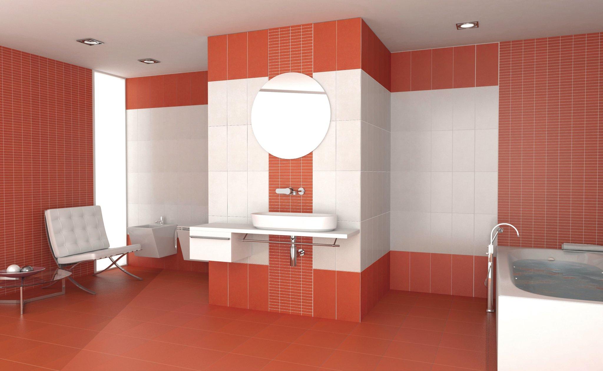 Feeling rivestimento bagno rosso moda ceramica - Rivestimento bagno grigio ...