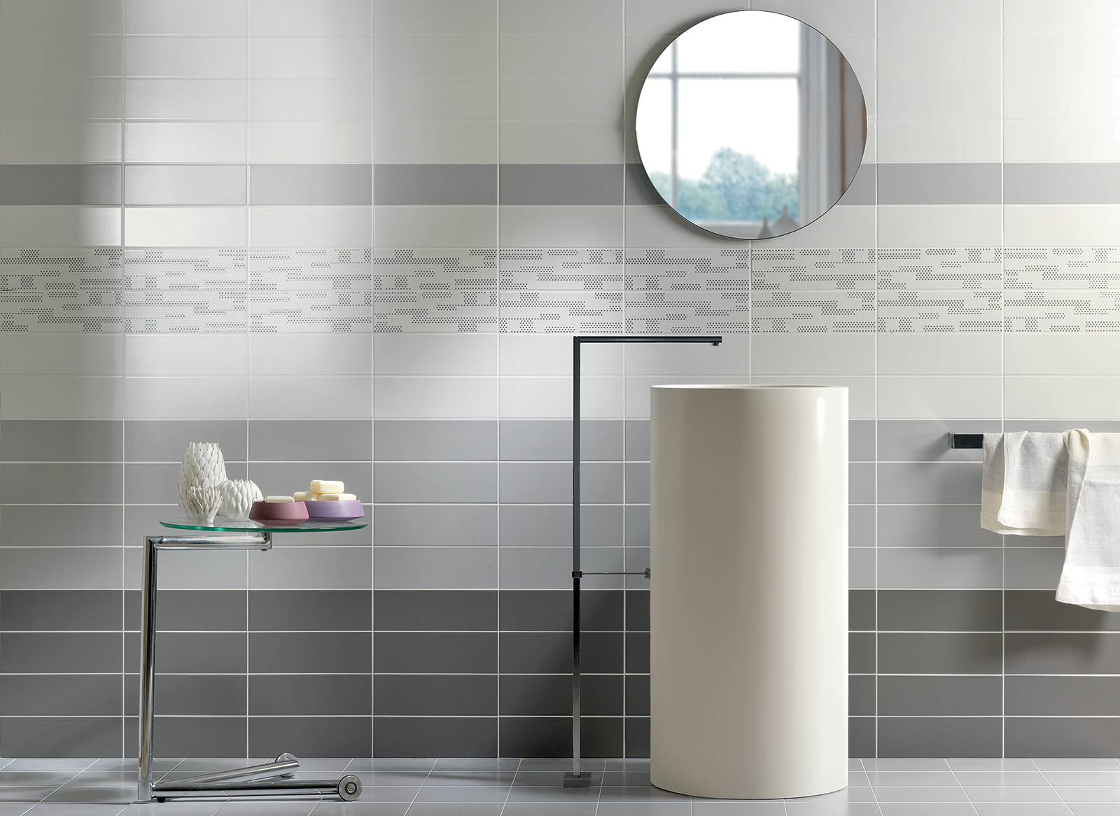 Tiffany rivestimento bagno grigio cemento wall moda ceramica - Rivestimento bagno grigio ...