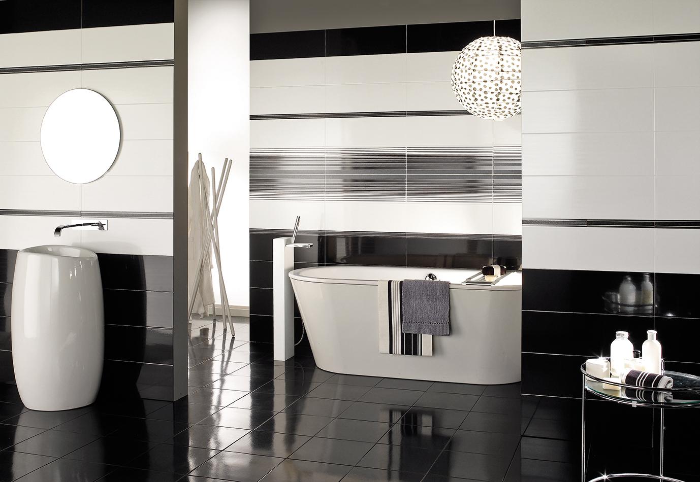 Rivestimento bagno in bianco e nero: piastrelle per il bagno: il