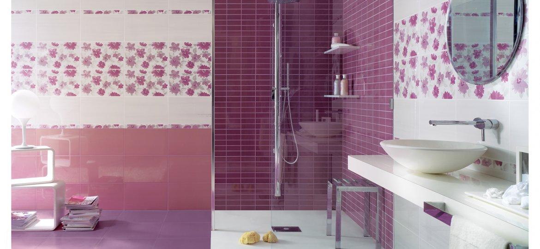 Serie smart pavimenti e rivestimenti moda - Bagno lilla e bianco ...